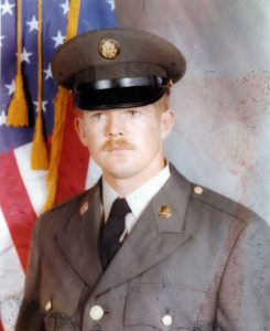 My husband Wayne, a Vietnam war era veteran. This is a photo of him in his Class-A uniform during basic training.