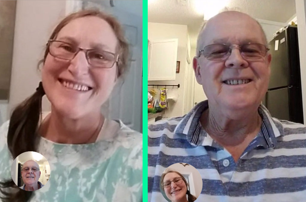 Wayne and I loving the technology of Google's Duo app to visit with one another on our phones.