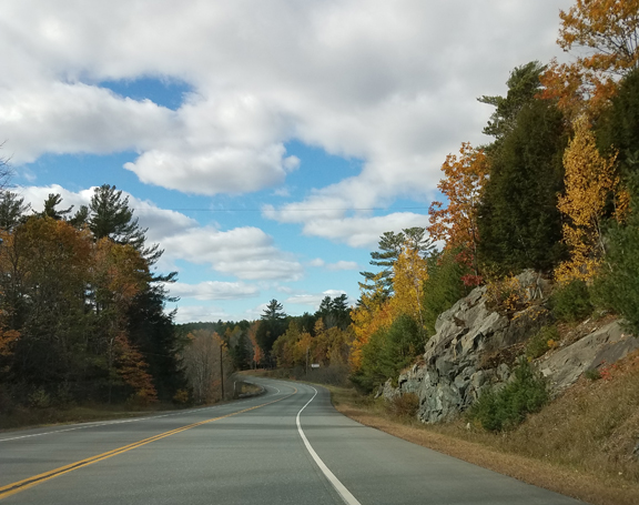 Beautiful autumn colors along Hwy 9 in Maine